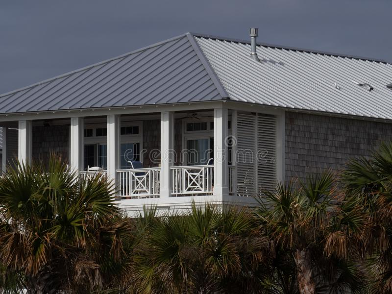 Coastal Cottage along the waterway. This cottage is indicative of the architecture that lines the intracoastal waterway in Wilmington, North Carolina stock photography