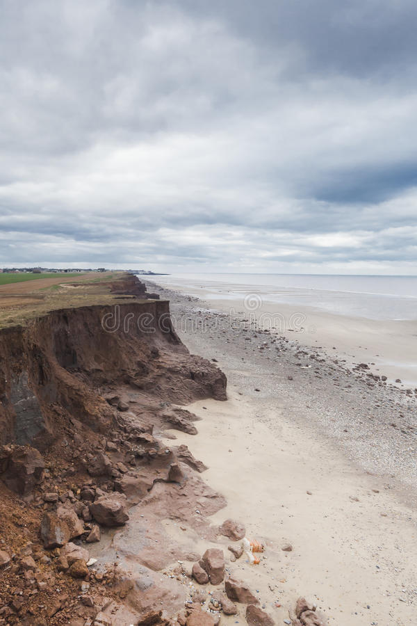 Coastal Erosion at Withernsea, Yorkshire, UK stock images