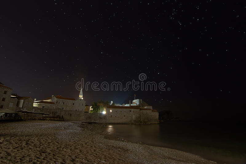 Coastal fortress starry night royalty free stock image