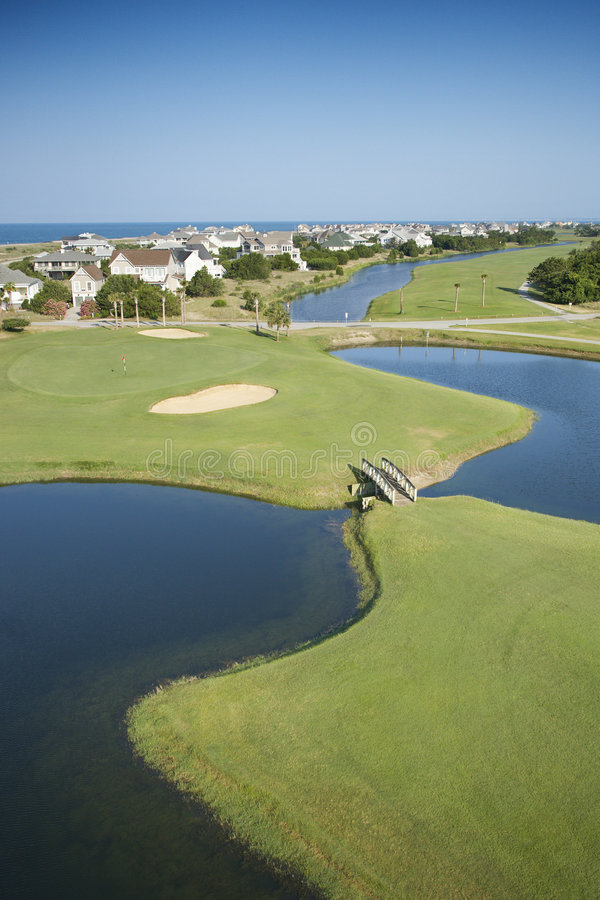 Coastal golf course. Aerial view of golf course in coastal residential community at Bald Head Island, North Carolina stock photography