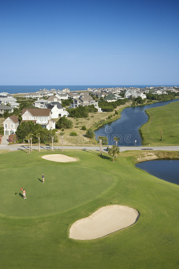 Coastal golf course. Aerial view of golf course in coastal residential community at Bald Head Island, North Carolina royalty free stock photography