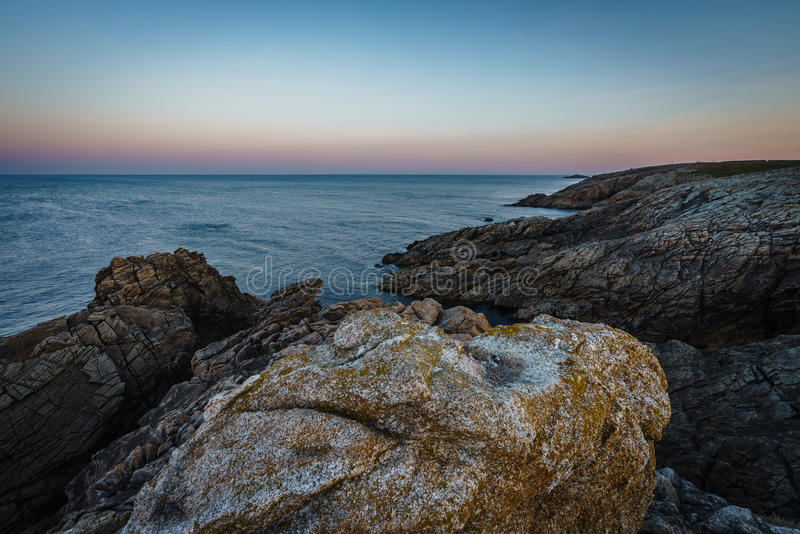 Coastal hike to the sunrise in Quiberon in Brittany royalty free stock image