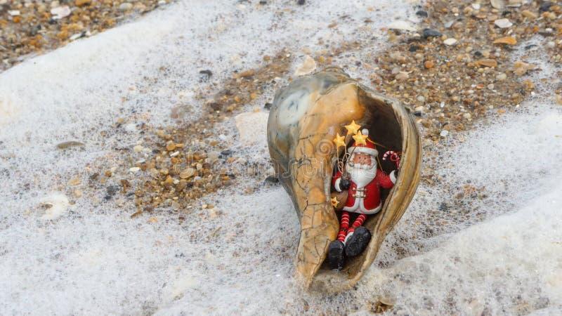 Coastal Holiday Background Seashell Santa royalty free stock photography