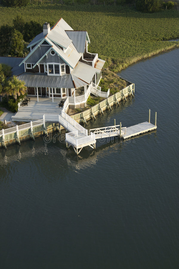 Download Coastal Home With Dock. Stock Image - Image: 3417161
