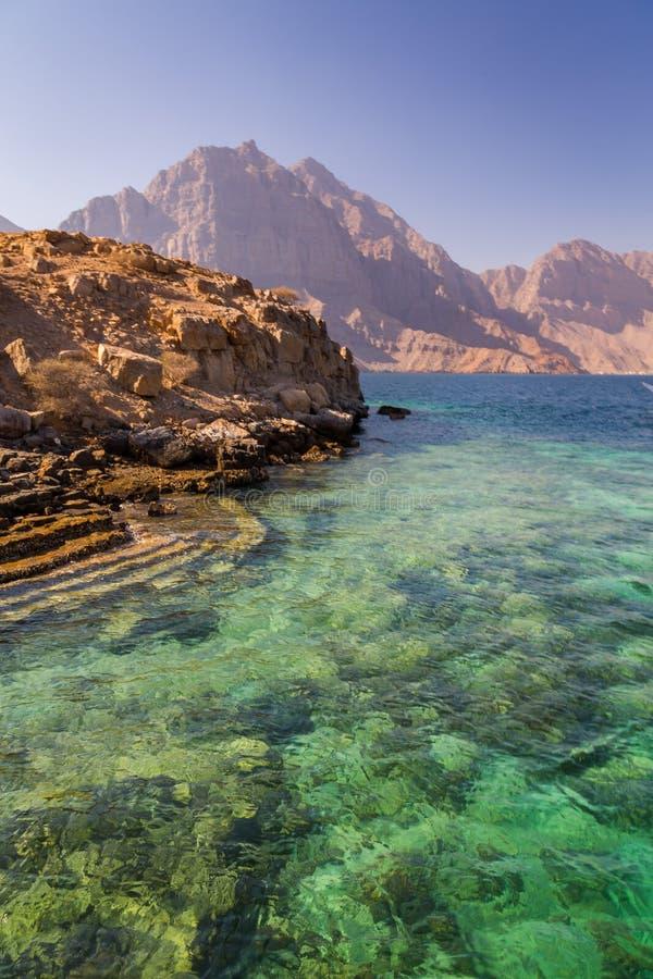 Coastal Khasab Scenery in Oman. Beautiful coastal scenery near Khasab, in Musandam peninsula, Oman, photo taken from a boat during a tour royalty free stock images