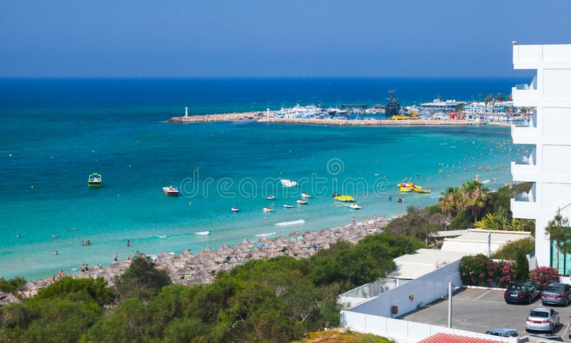 Coastal landscape of Ayia Napa resort town. Ayia Napa, Cyprus - June 13, 2018: Coastal landscape of Ayia Napa resort town at the far eastern end of the southern royalty free stock photos