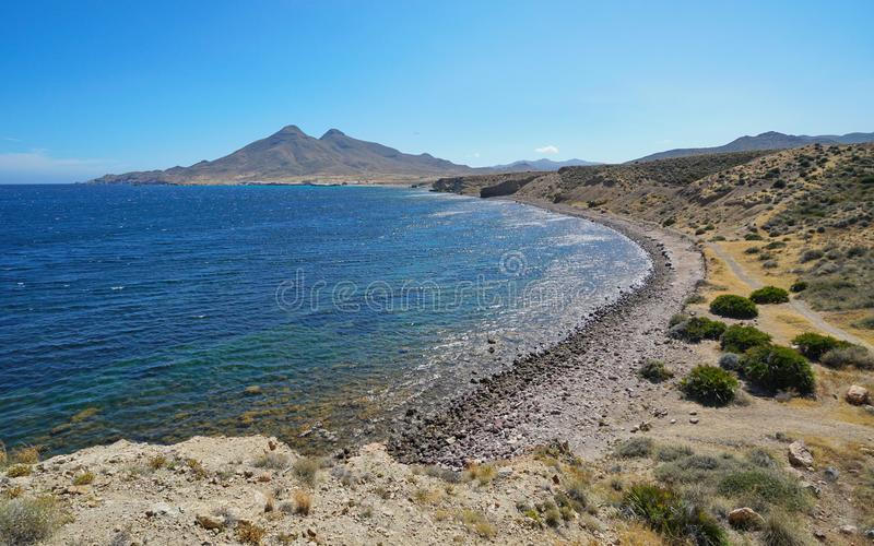 Coastal landscape Cabo de Gata natural park Spain stock images