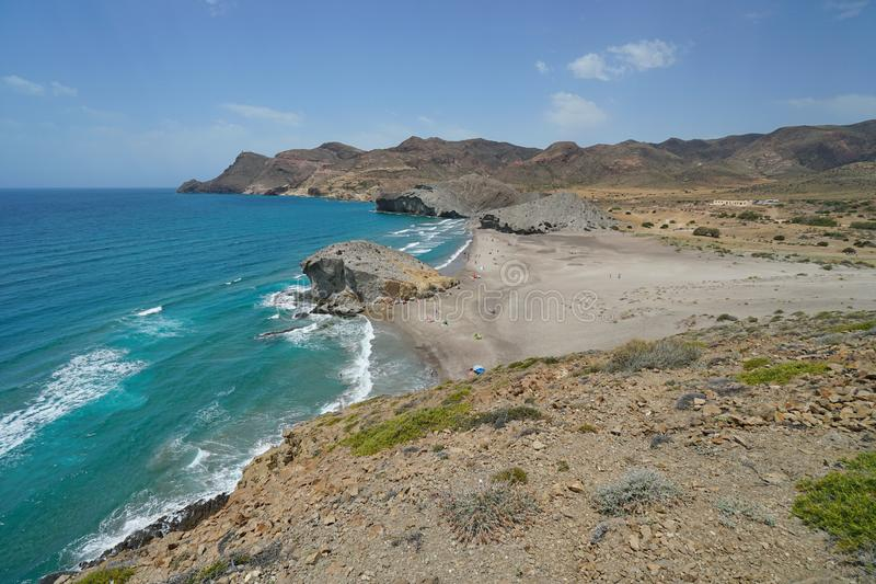 Coastal landscape Cabo de Gata Almeria Spain stock photos