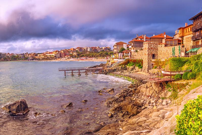 Coastal landscape - embankment with fortress wall in the city of Sozopol. On the Black Sea coast in Bulgaria stock photo
