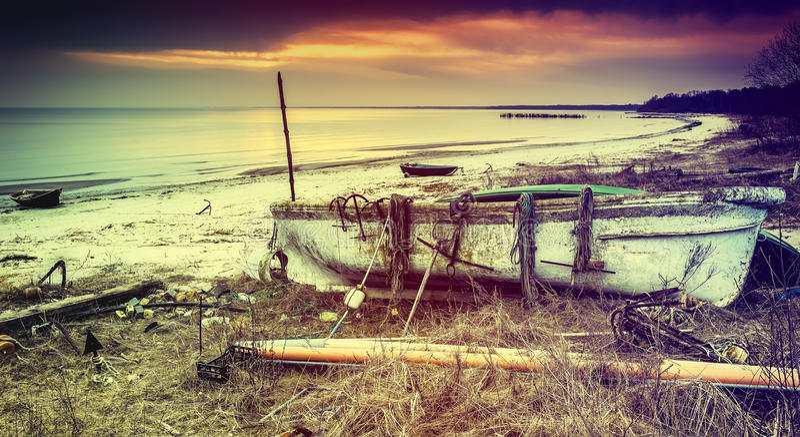 Coastal landscape with fishing boats, Baltic Sea, Europe stock photos