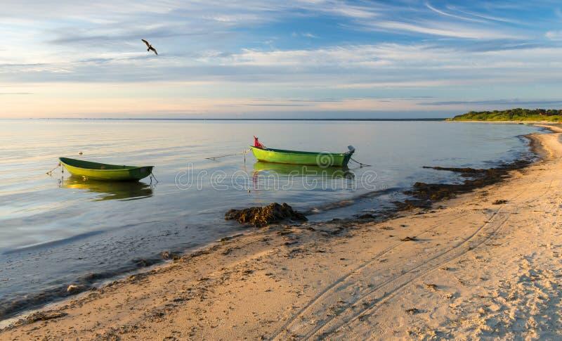 Coastal landscape with fishing boats, Baltic Sea, Europe stock photo