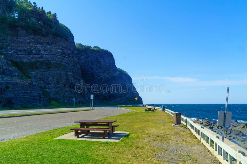 Coastal landscape, Gaspe Peninsula. Coastal landscape along road 132, Gaspe Peninsula, Quebec, Canada royalty free stock images