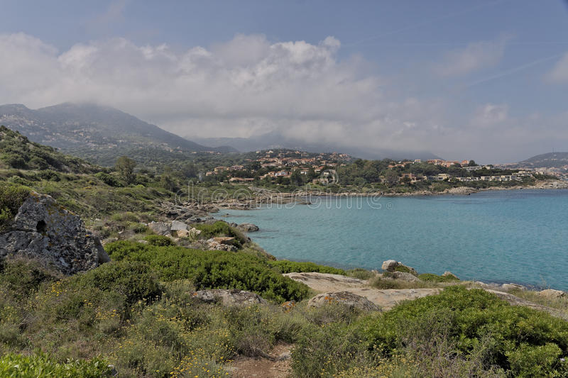 Coastal landscape near Ile Rousse at the northern coast of Corsica, France stock photography