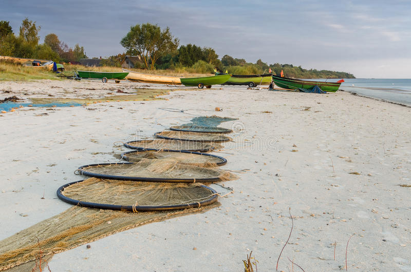 Coastal landscape with a small fishing boats, Baltic Sea stock images