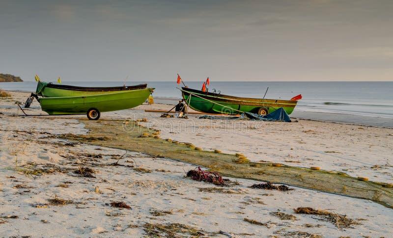 Coastal landscape with a small fishing boats, Baltic Sea stock photos
