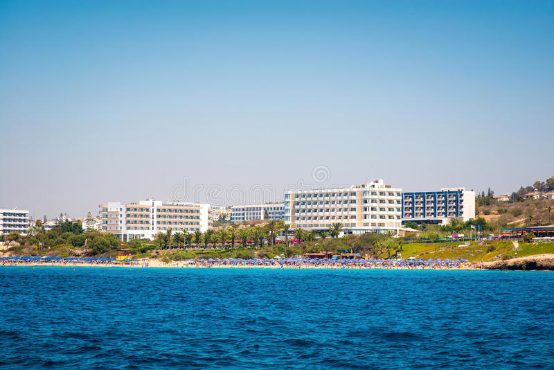 Coastal line of Ayia Napa with beach and hotels. Famagusta District. Cyprus stock photos