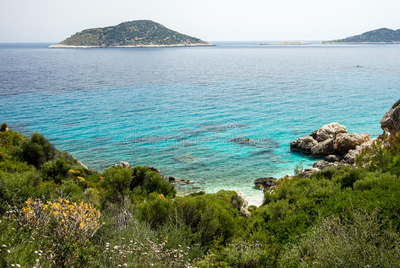 Coastal line on mediterranean sea, Turkey. royalty free stock photography