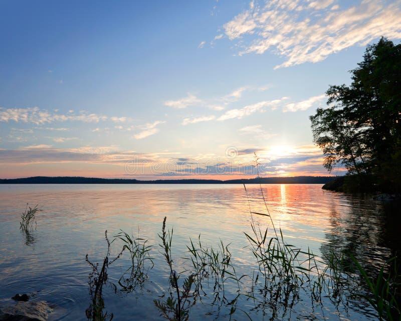 Coastal morning landscape. Saimaa lake