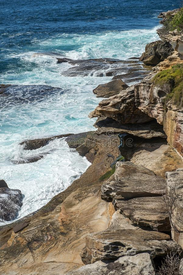 Coastal path from Coogee to Maroubra, Sydney, Australia. Sydney coastal walk: path from Coogee to Maroubra, landscape with the ocean, Australia stock photography