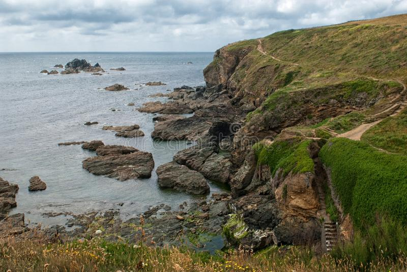 Coastal Path at Lizard Point, Lizard Cornwall UK. stock images