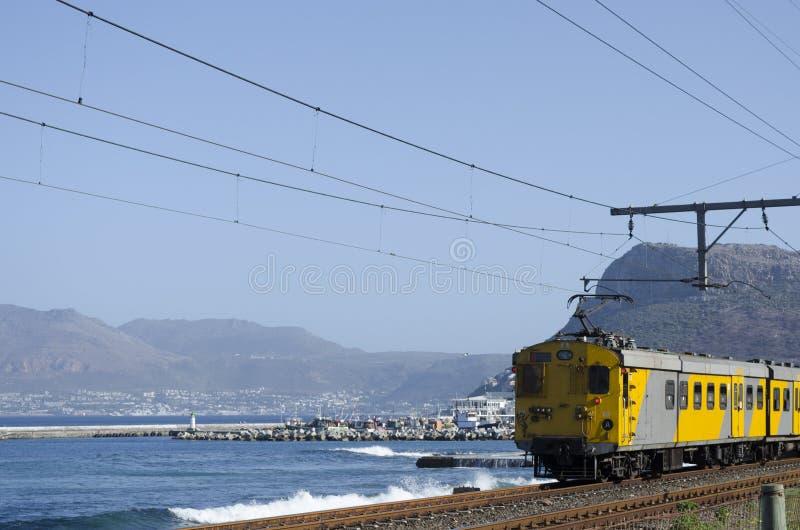 Coastal Railroad at Kalk Bay Cape Town South Africa royalty free stock image