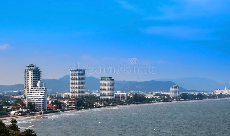 The coastal resort town. In the bright sky stock photos