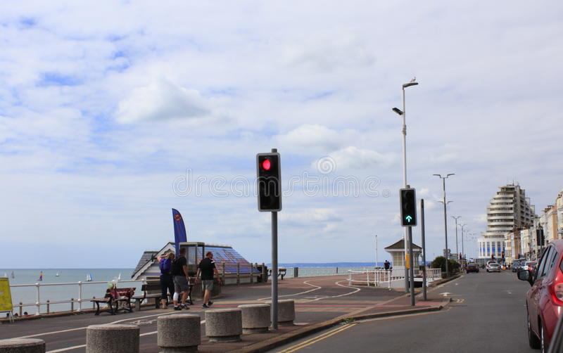 Coastal road Hastings United Kingdom. A 259 beach-side motorway in Hastings.Hastings is a town on England's southeast coast stock photos