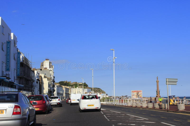 Coastal road Hastings United Kingdom. A 259 beach-side motorway in Hastings.Hastings is a town on England's southeast coast stock photography