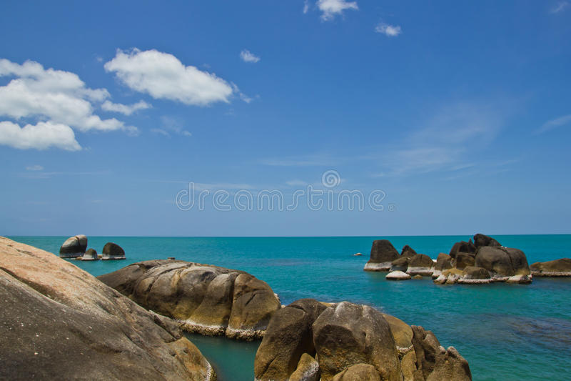 Coastal rocks koh samui thailand stock photo