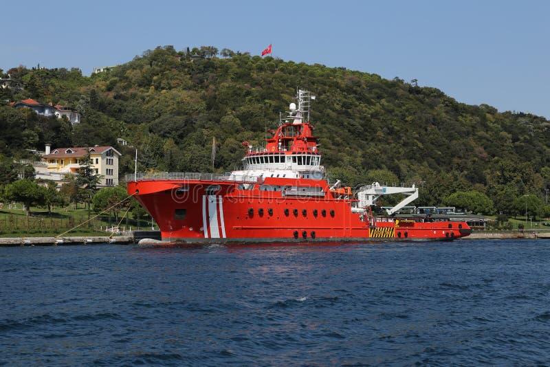 Coastal Safety Boat. An Orange Coastal Safety Boat waiting in Coast stock photos