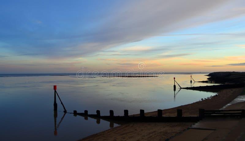 Coastal Scene at Dusk Suffolk England stock photography