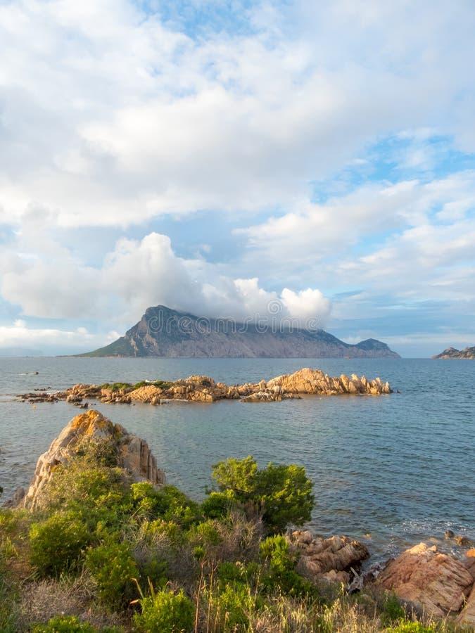 Beautiful coastal scene of Sardinia Italy. Coastal scene of Sardinia looking over Isola Tavolara royalty free stock photos