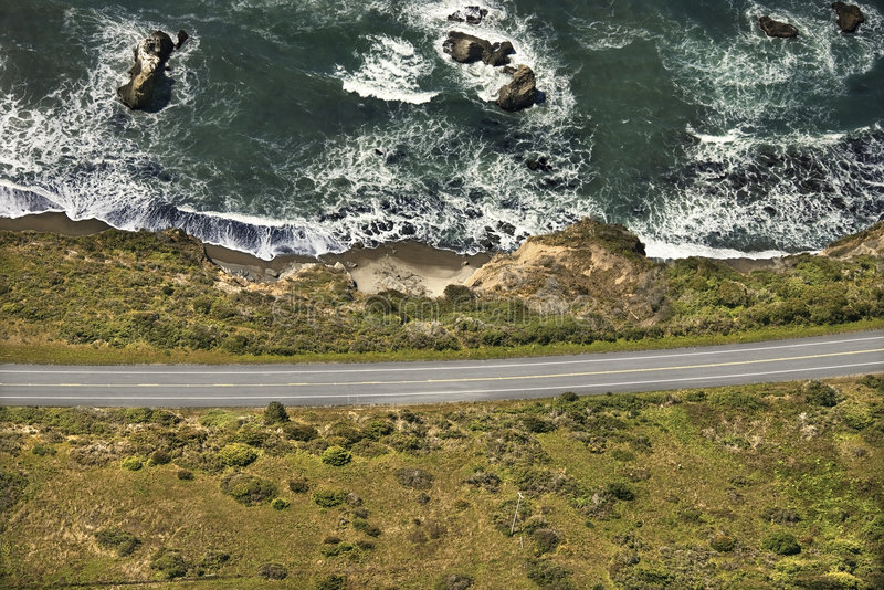 Coastal scenic highway. Aerial of coastal scenic highway along Pacific Ocean on California west coast, USA royalty free stock photography