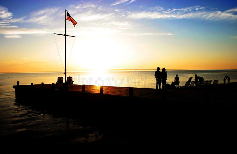 Coastal silhouette at sunset