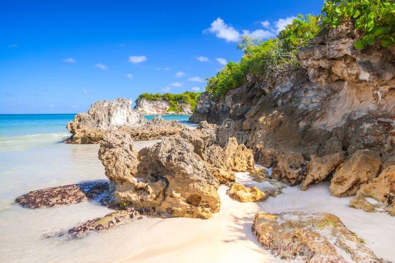 Coastal stones on Macao Beach. Touristic resort of Dominican Republic, Hispaniola Island stock photo