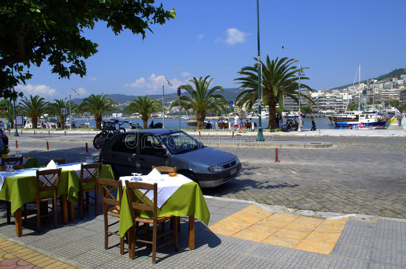 Coastal street in Kavala city,Greece stock image