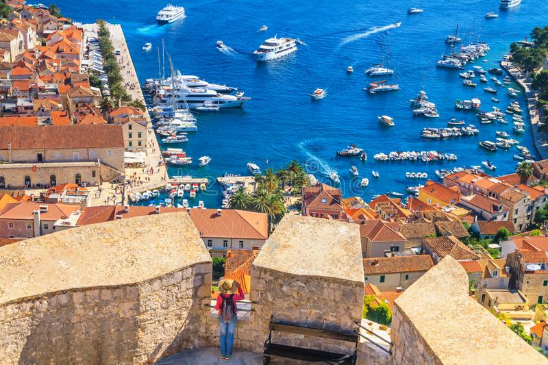 Coastal summer landscape - view of the City Harbour and marina of the town of Hvar from the Castle, on the island of Hvar. The Adriatic coast of Croatia stock photos