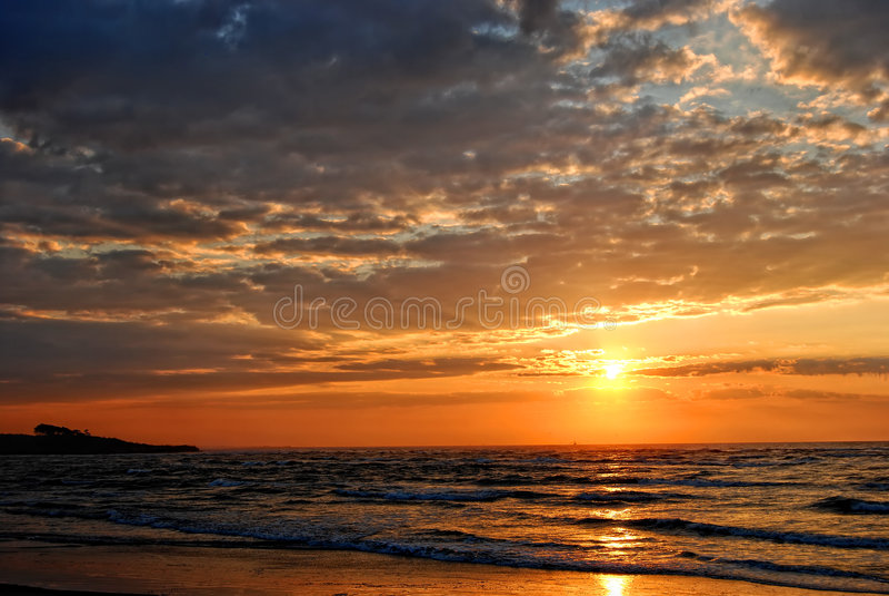 Download Coastal Sunrise stock photo. Image of wave, sunbeams, trawler - 6680116