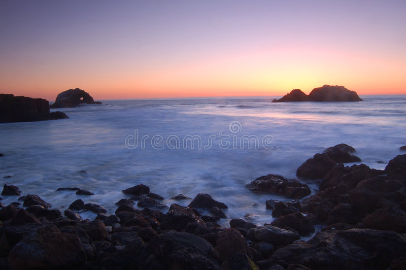 Coastal sunset royalty free stock photography
