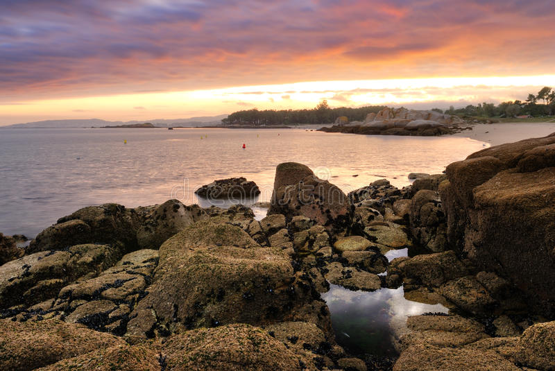 Coastal Sunset on Atlantic ocean stock images