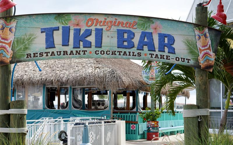 Coastal Tiki Bar Restaurant. Tiki Bar Restaurant/Cocktails in Fort Pierce, Florida stock photography