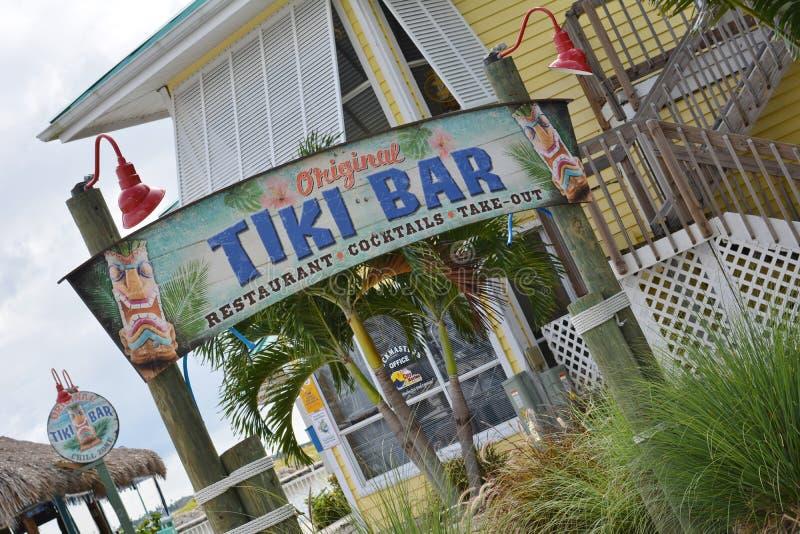 Coastal Tiki Bar Restaurant Sign. Tiki Bar Sign...Restaurant/Cocktails in Fort Pierce, Florida stock photo