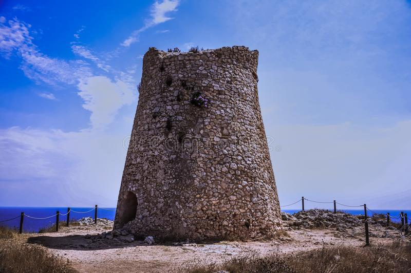 Coastal tower of salento. The salento is dottedwith coastal tower that served to spot the enemies the apulian coasts were often under attack stock image