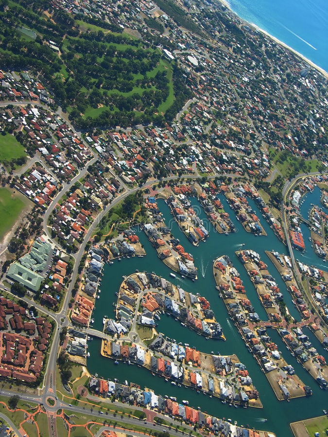 Coastal Town 4. Aerial View of Coastal Town. View of Waterfront Houses stock photography