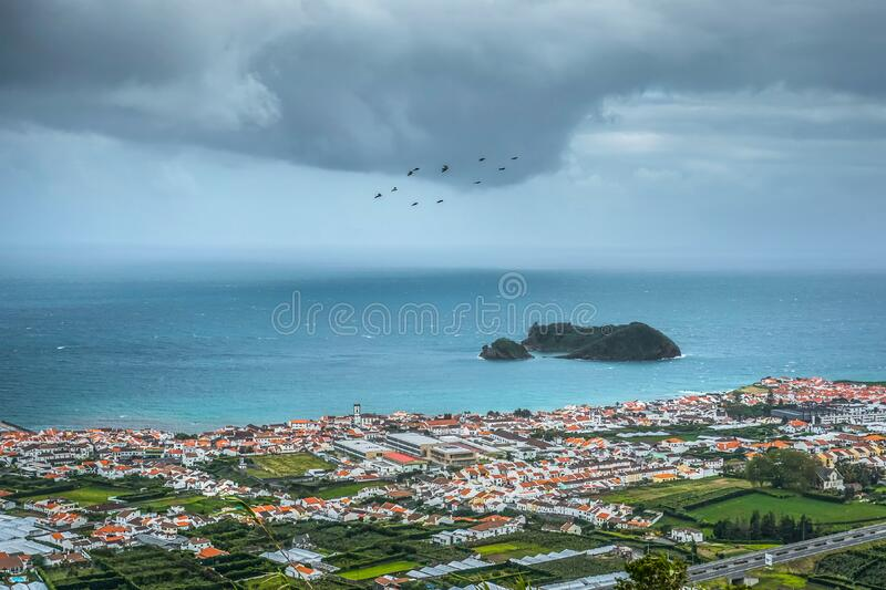 Coastal town, Azores, Portugal stock image