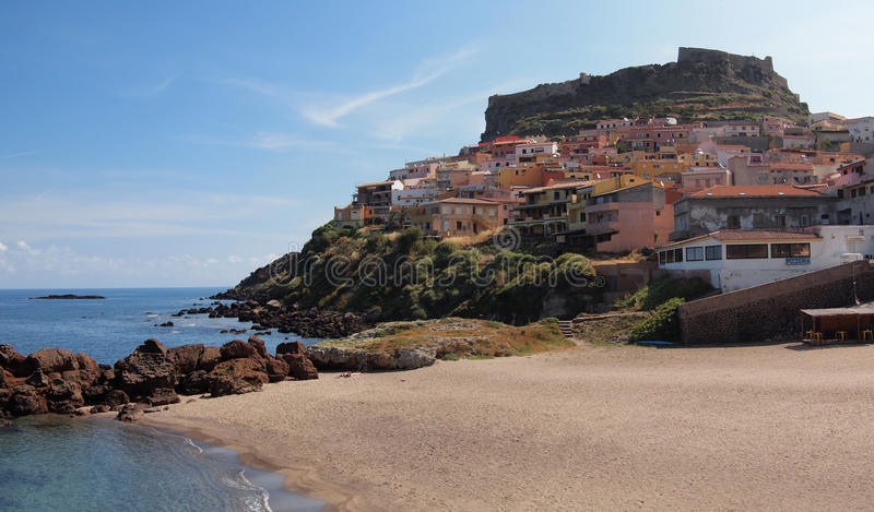 Coastal town Castelsardo. The sardinian coastal town Castelsardo, built upon a cliff on the north coast of Sardinia, Italy with a beach and a fortress royalty free stock images