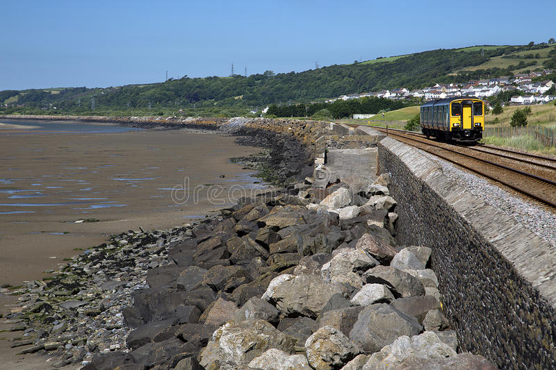 Coastal Train and Railway Line, Millennium Coastal Path, Llanelli, South Wales. Near Loughor Estuary, Burry Port and Pwll stock photography