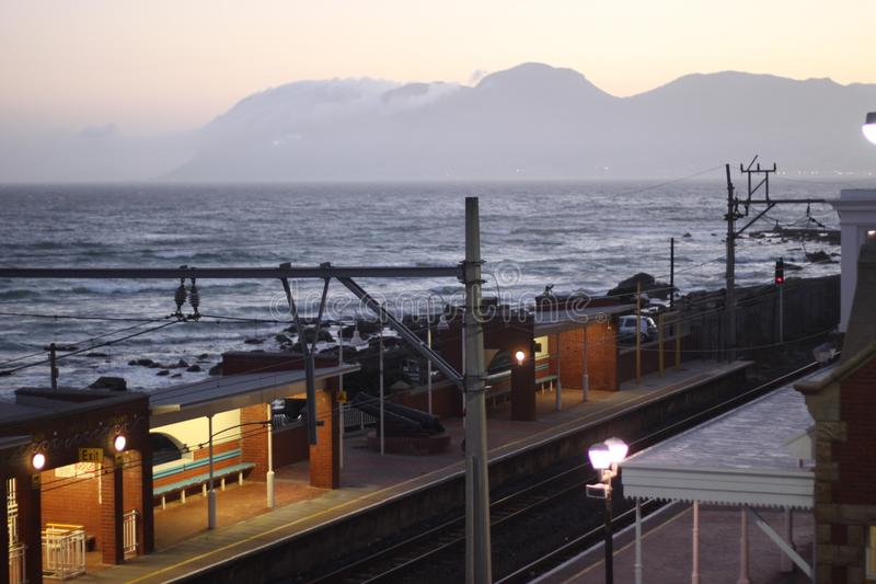 Coastal Train Station in Cape Town stock photography