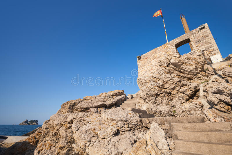 Coastal Venetian fortress Castello in Petrovac. Montenegro stock photo