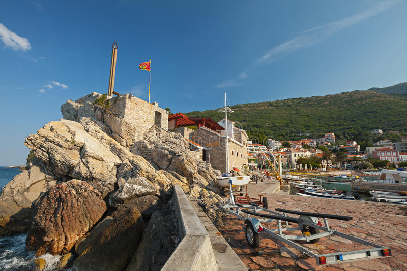 Coastal Venetian fortress in Montenegro. Coastal Venetian fortress Castello in Petrovac, Montenegro stock photos